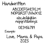 Handwritten Font Sample Text for Print Embroidery - Happy Dance Quilting